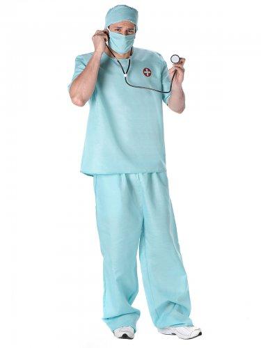Disfraz de cirujano azul para hombre