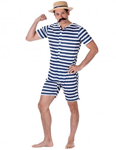 Bañador retro rayado azul y blanco hombre
