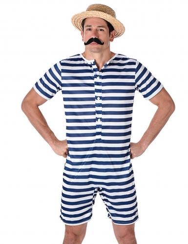 Bañador retro rayado azul y blanco hombre-1