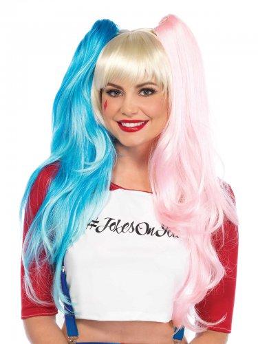 Peluca arlequín rosa y azul mujer