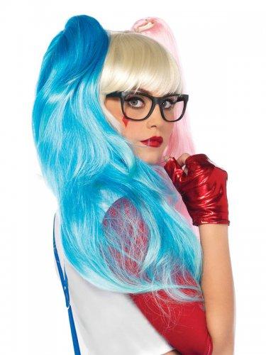 Peluca arlequín rosa y azul mujer-1