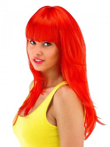 Peluca larga roja con flequillo mujer