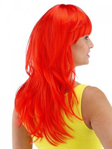 Peluca larga roja con flequillo mujer-1