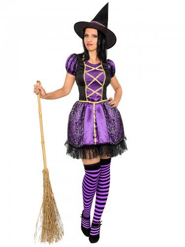 Disfraz bruja negro y violeta mujer Halloween