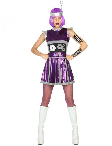 Disfraz de robot violeta mujer
