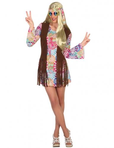 Disfraz hippie con rosetones muticolor mujer
