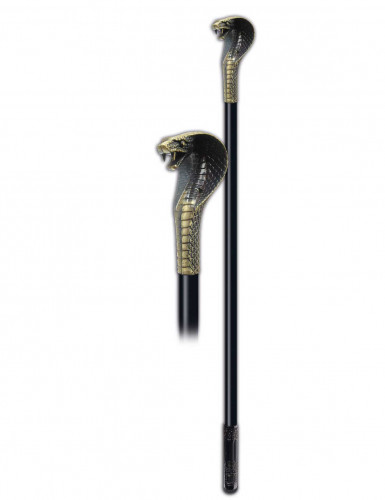 Bastón lujo serpiente negra y metal plateada