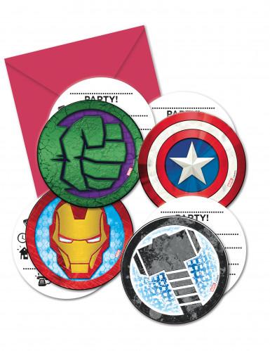 6 Tarjetas De Invitación Con Sobres Avengers Mighty
