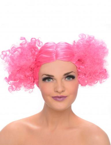 Peluca coletas con volumen rosa mujer