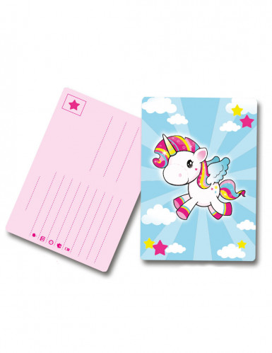 8 Tarjetas De Invitación Unicornio