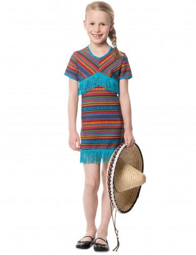 Disfraz vestido mejicano turquesa niña