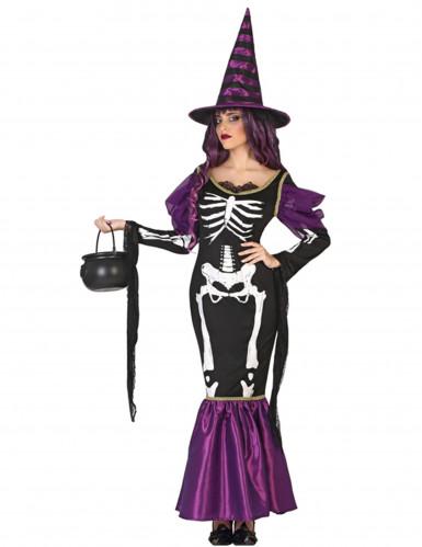 Disfraz de bruja violeta esqueleto mujer Halloween