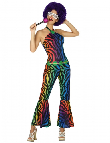 Disfraz disco leopardo multicolor mujer