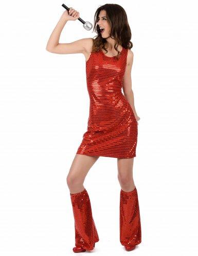Disfraz disco rojo con lentejuelas para mujer