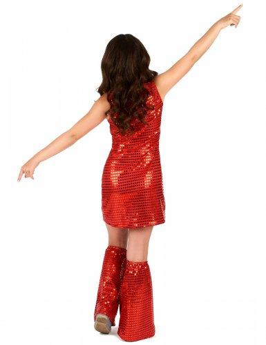 Disfraz disco rojo con lentejuelas niña-2