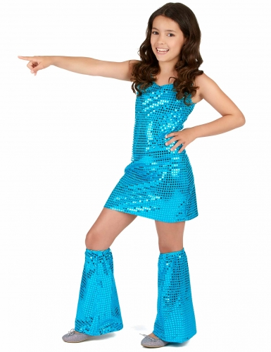 Disfraz disco turquesa con lentejuelas niña-1