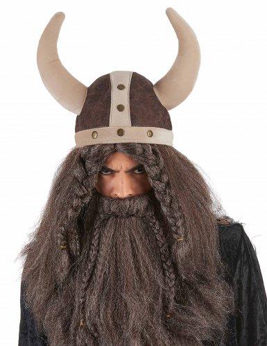 casco vikingo marrón flexible adulto-1