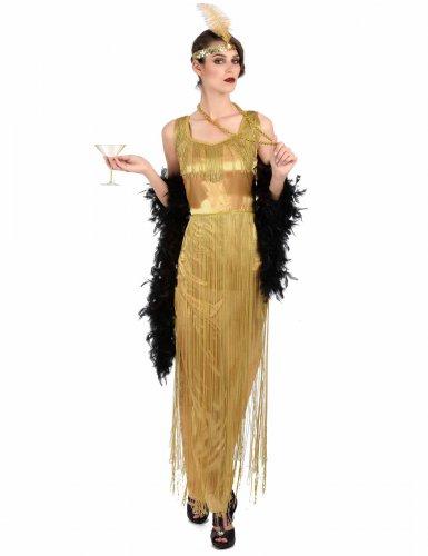 Disfraz Charlestón dorado con flecos mujer