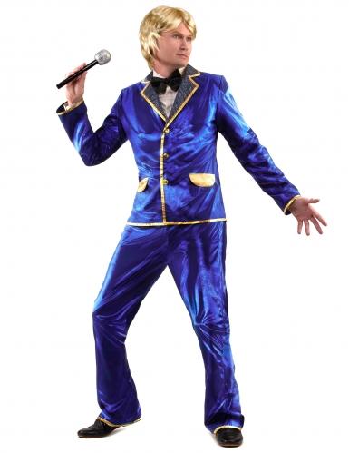 Disfraz disco brillante azul hombre