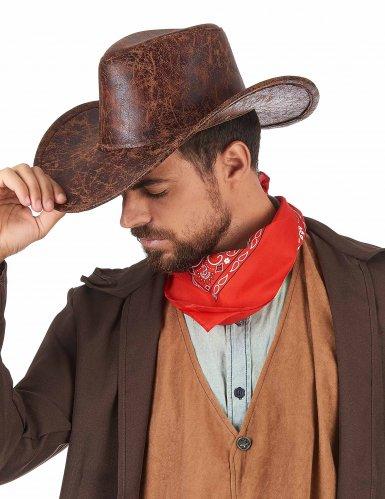Sombrero cowboy marrón imitación cuero adulto-1