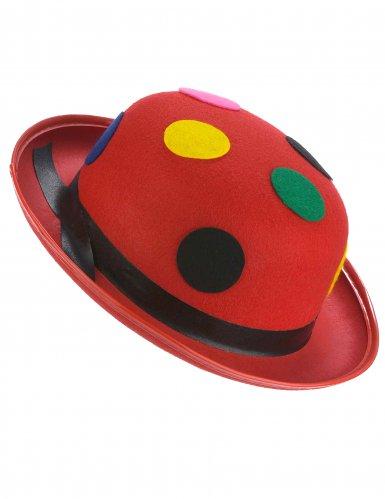 Sombrero melón rojo payaso con puntos adulto