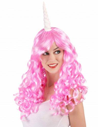 Peluca unicornio rosa mujer