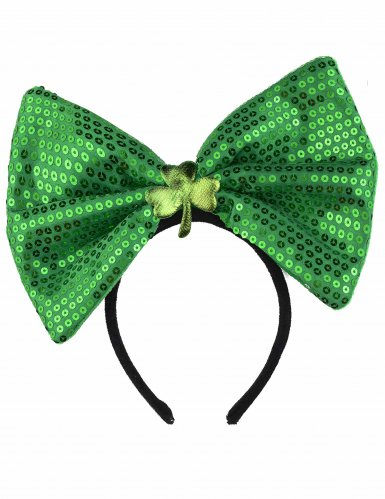 Diadema lazo verde con lentejuelas adulto