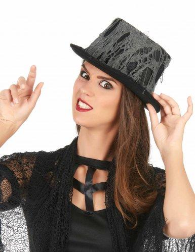 Sombrero alto negro telaraña adulto-1