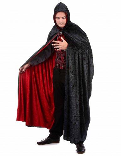 Capa vampiro terciopelo rojo y negro reversible lujo adulto