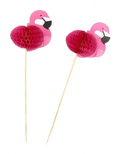 12 palillos flamingos rosas 17.5 cm