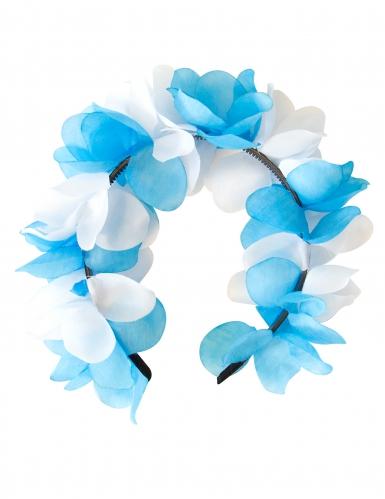 Corona de flores azul y blanco