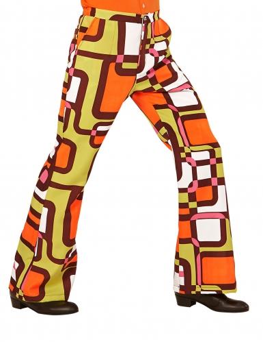 Pantalón groovy geométrico años 70 hombre