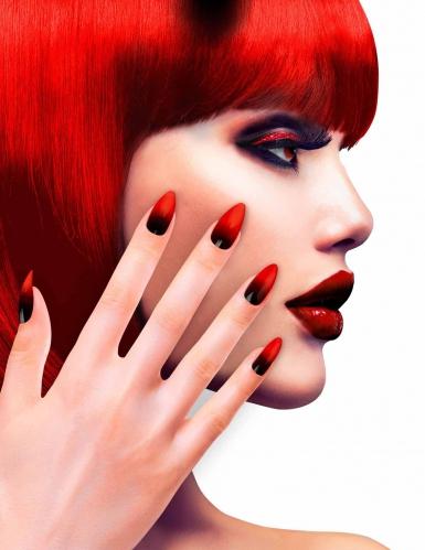 Uñas postizas negro y rojo mujer