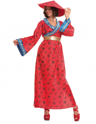 Disfraz china rojo mujer