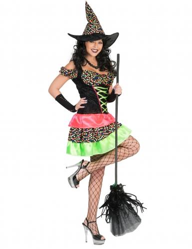 Disfraz bruja puntos de colores mujer Halloween