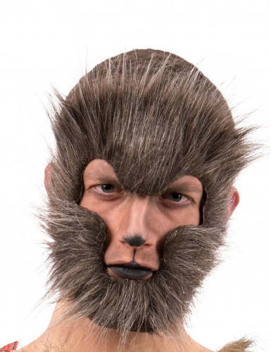 Máscara lobo castaño adulto