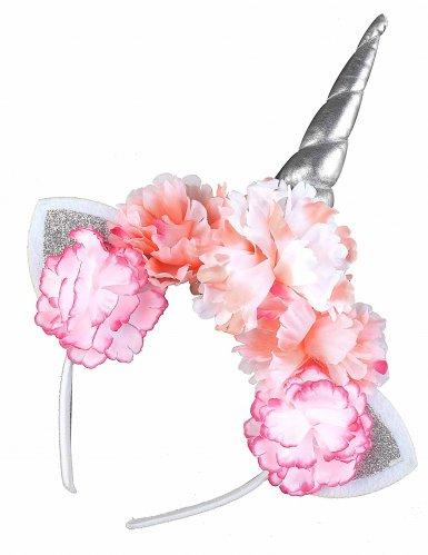 Diadema unicornio con flores rosas adulto