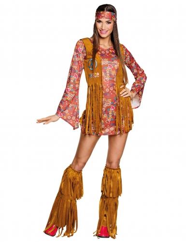 Disfraz hippie Peace con flecos mujer