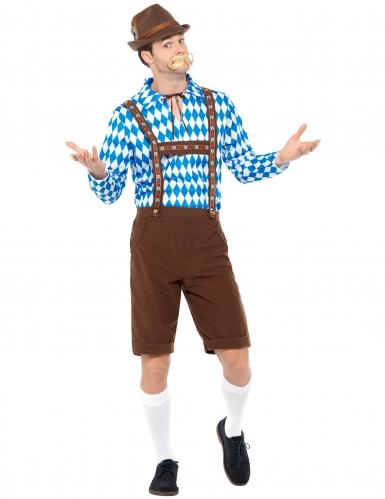 Disfraz bávaro azul y marrón adulto-1