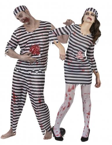Disfraz de pareja prisioneros Zombie Halloween
