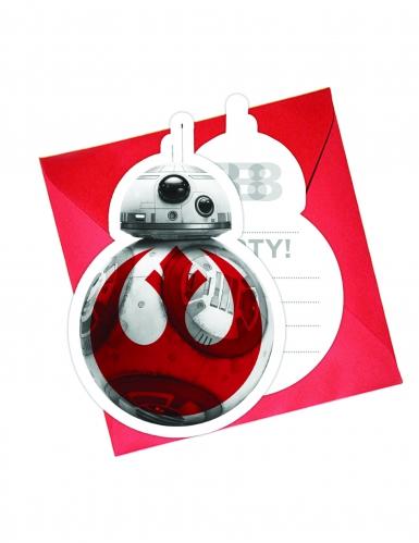 6 Tarjetas de invitación + sobres Star Wars 8 The Last Jedi