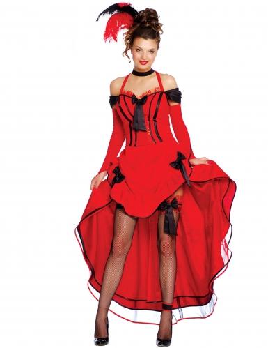 Disfraz cancan rojo con lazos negros mujer