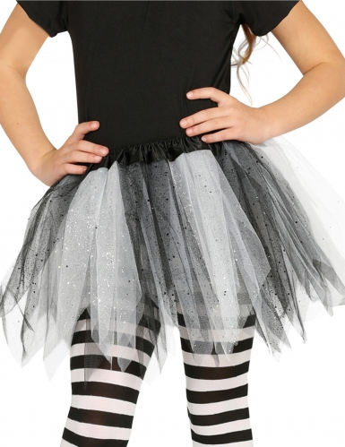 Tutu bicolor negro y blanco con purpurina niña