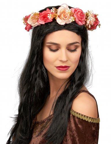 Corona de rosas y flores blancas adulto