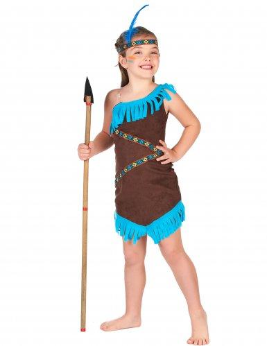 Disfraz india marrón y azul para niña