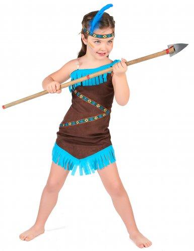 Disfraz india marrón y azul para niña-1