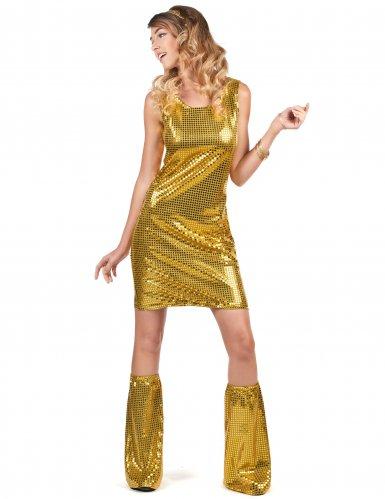 Disfraz disco dorado con lentejuelas mujer-1