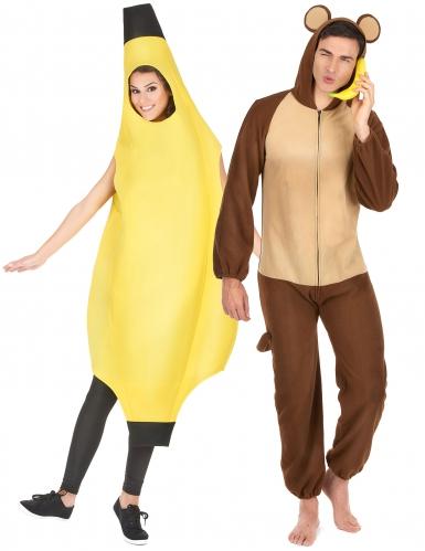 Disfraz pareja plátano y mono adulto