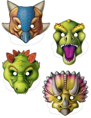 4 Caretas de dinosaurios de cartón