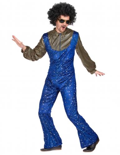 Disfraz disco azul y dorado hombre